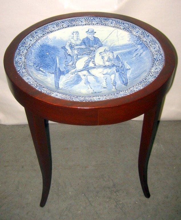 Small Mahogany Tray Table with Delft Insert