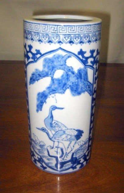 Blue and White Cylinder Chinese Vase