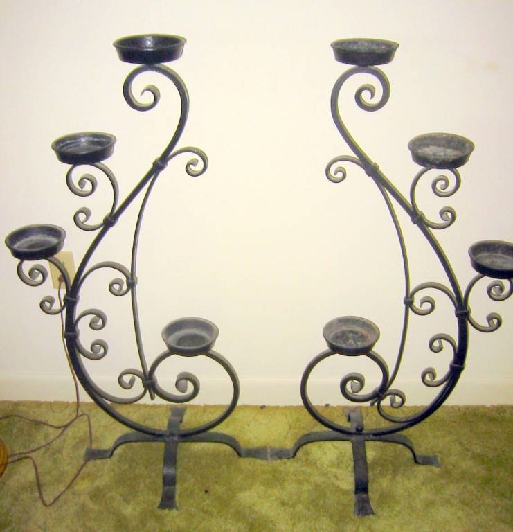 Pair of Wrought Iron Plant Stands