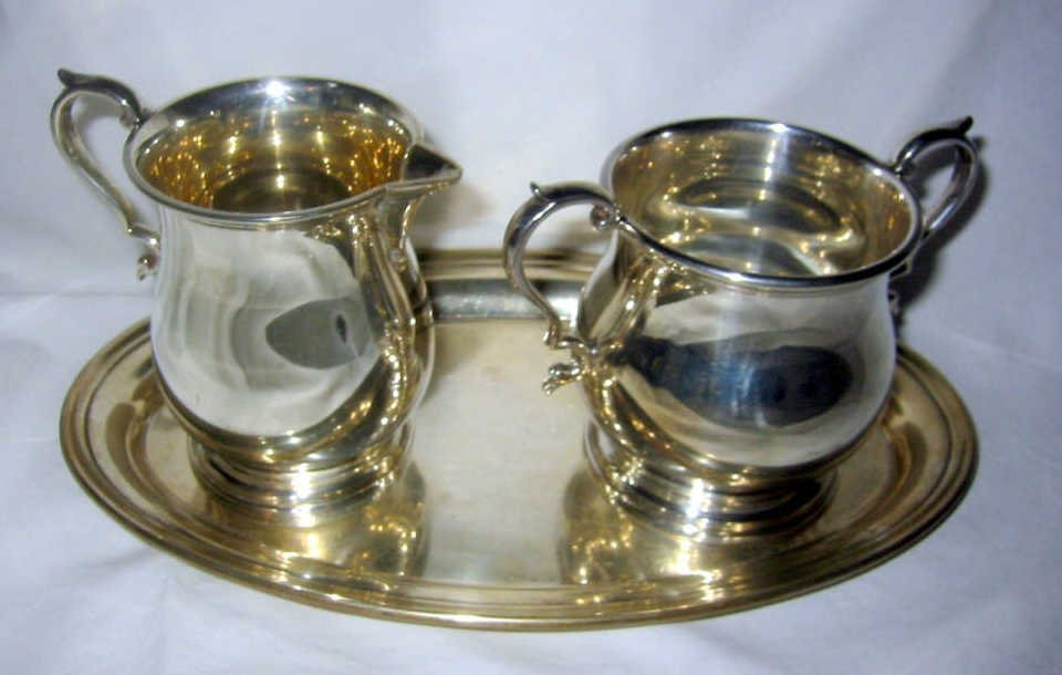 Sterling Sugar and Creamer with Under Tray