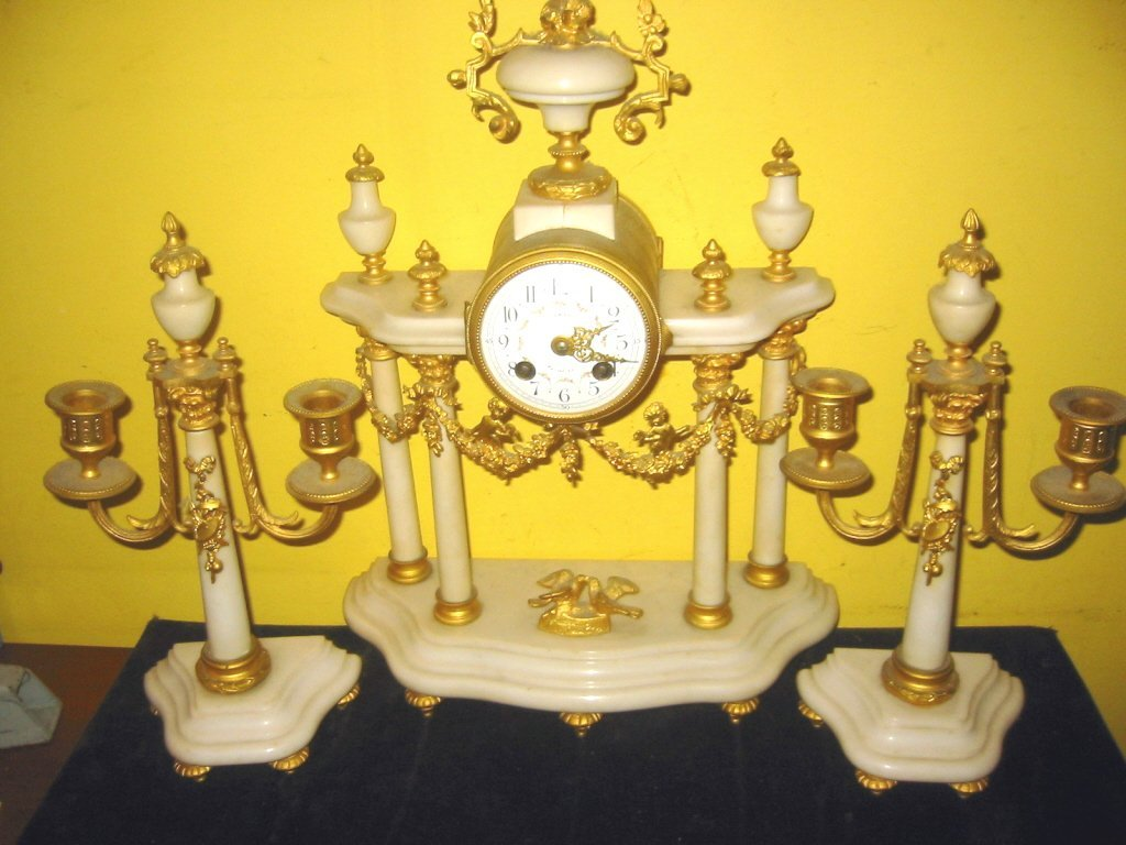 French Marble and Ormolu Clock Set