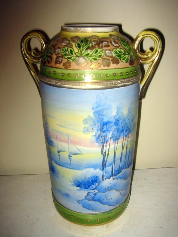 Large Hand Painted Nippon Vase