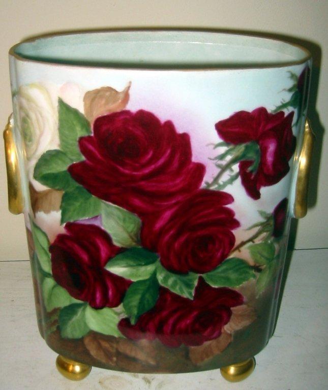 Large Limoges Porcelain Waste Basket