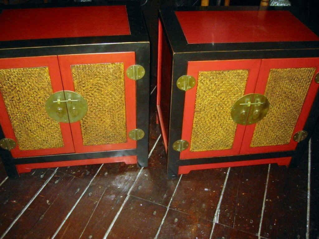 Pair of Chinese Lacquered End Tables