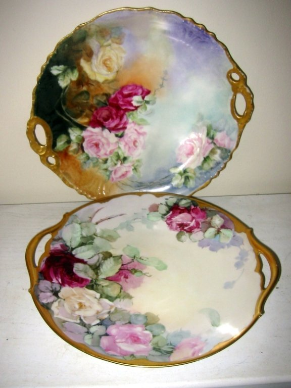 Two Limoges Hand Painted Cake Plates