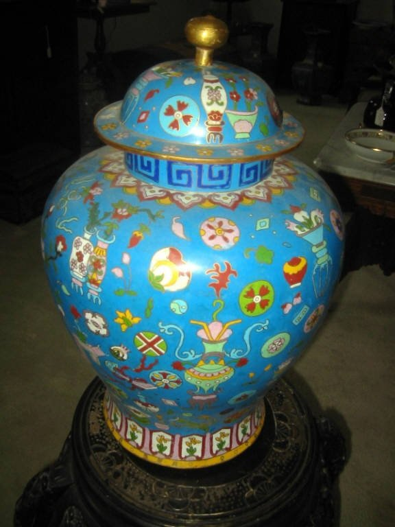 Large Cloisonne Covered Urn (Chinese)