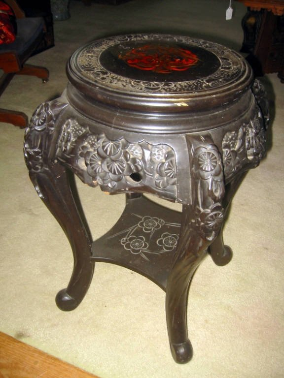 Chinese Carved and Lacquered Stand