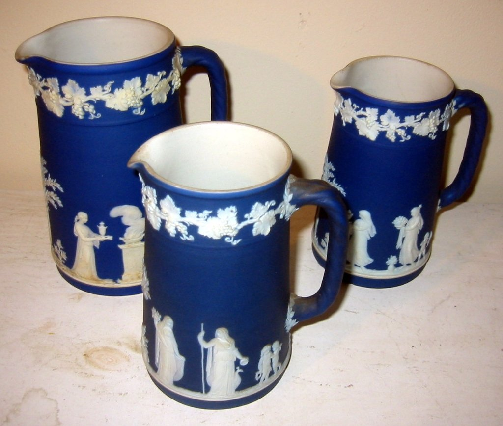 Three Wedgewood Milk Pitchers
