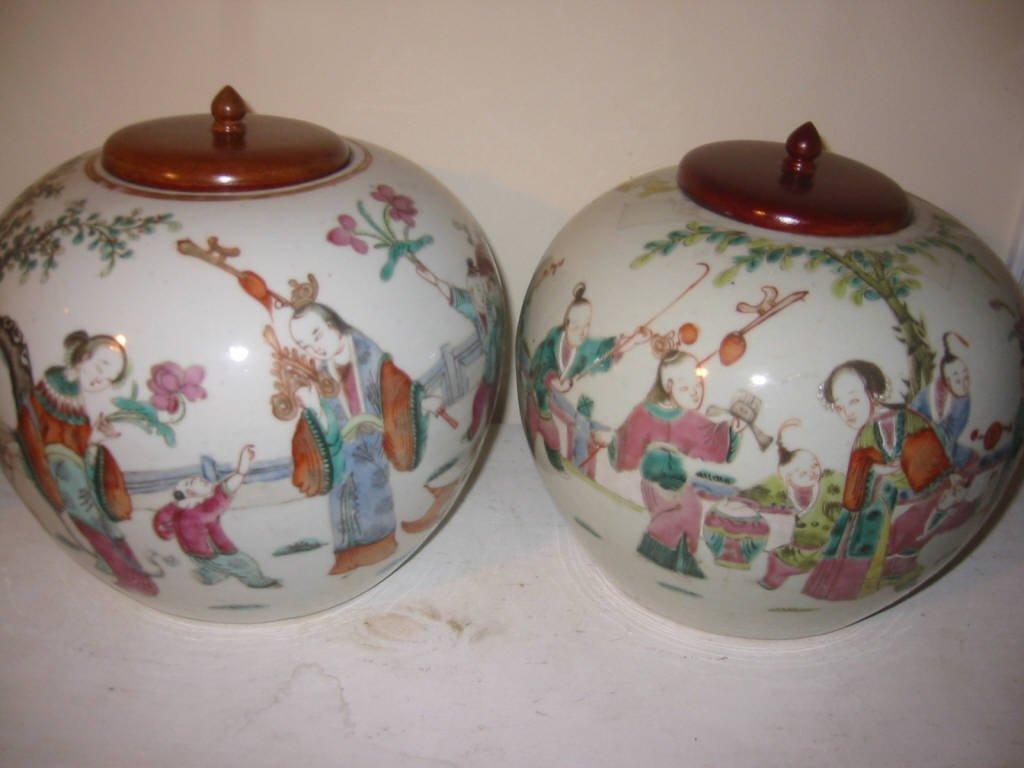Two Famille Rose Ginger Jars