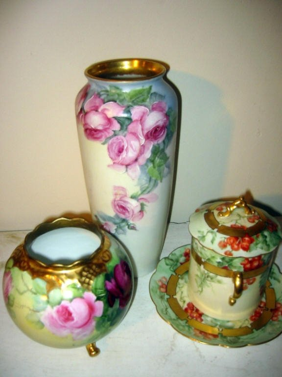 Three Piece Lot of Hand Painted Porcelain