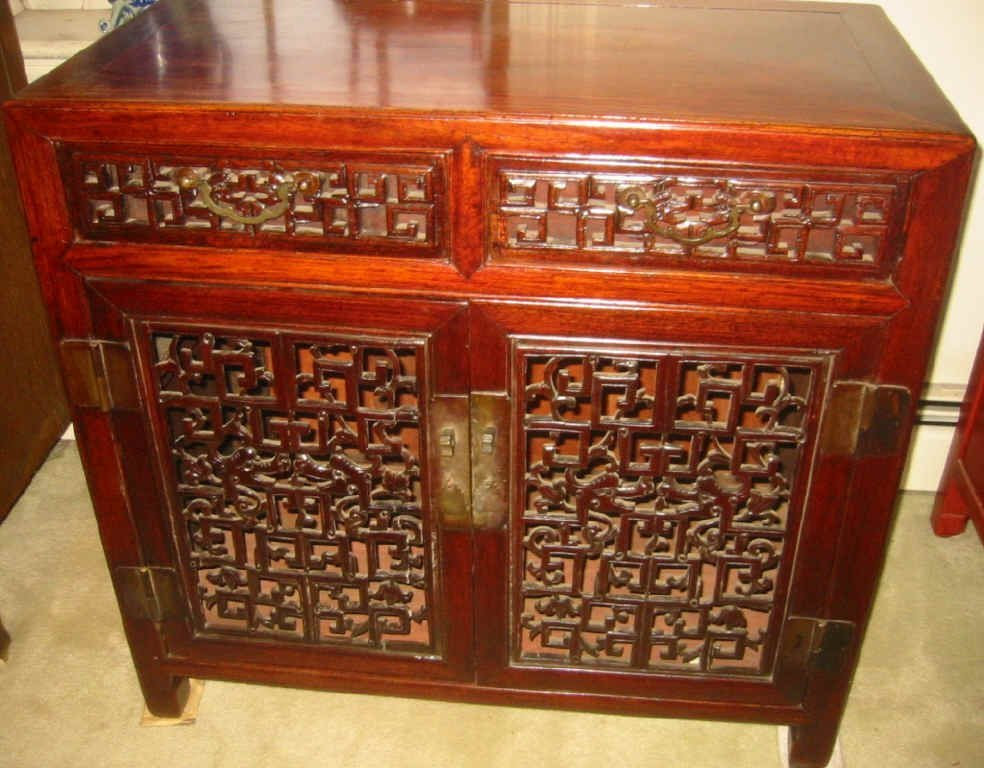 Chinese Carved Two Drawer Cabinet