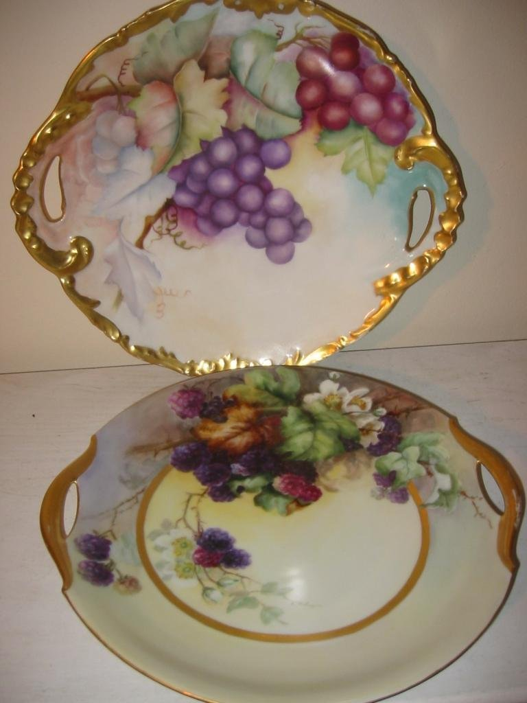 Two Hand Painted Fruit Plates