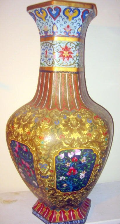 Temple Size Chinese Cloisonne Vase