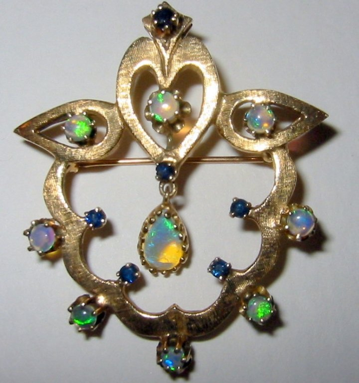Edwardian Brooch with Pendant in 14k Gold