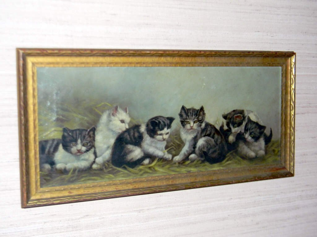 Oil Painting on Canvas of Six Kittens
