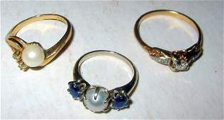Three 14k Gold Ladys Rings