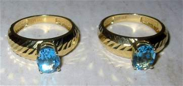 Two Matching 14k Gold Blue Topaz Rings
