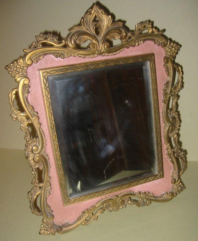 Brass and Enamel Victorian Dresser Mirror