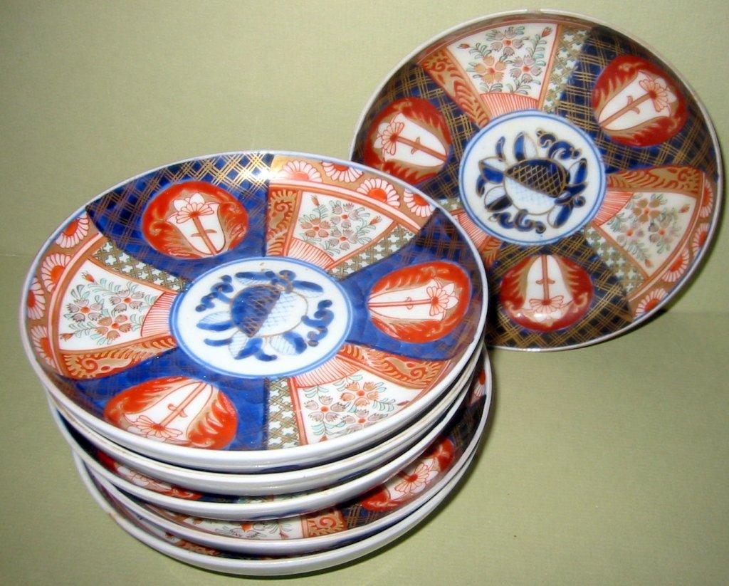 Set of Six Imari Dessert Plates
