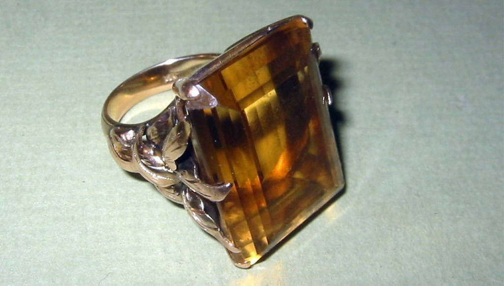 Large Topaz Set in 14k Gold Ring Setting