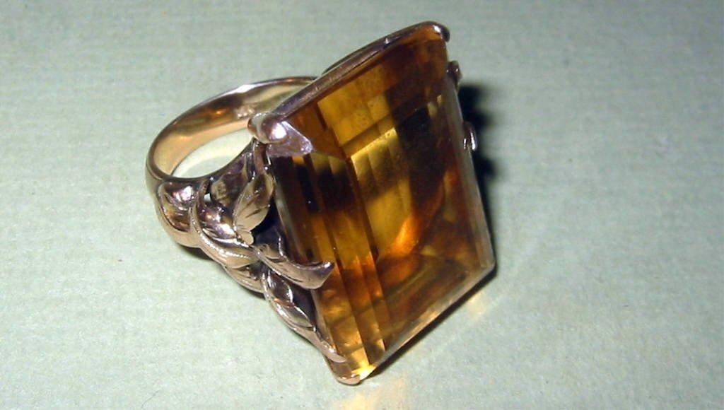 Large Topaz Set in 14k Gold Ring Setting