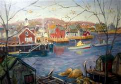 Oil Painting of Rockport Harbor