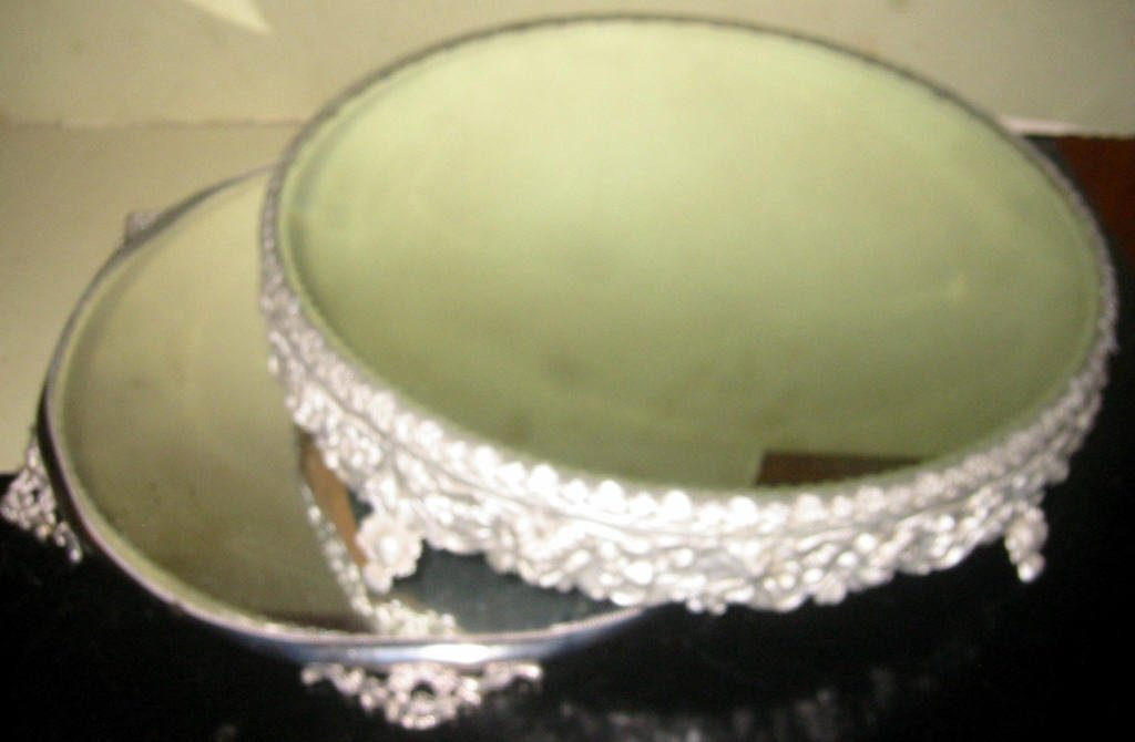 Two Victorian Silver Plate Mirror Plateaus