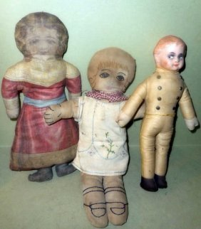 Three Victorian Cloth Dolls