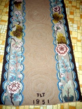 Signed And Dated Hooked Rug Runner