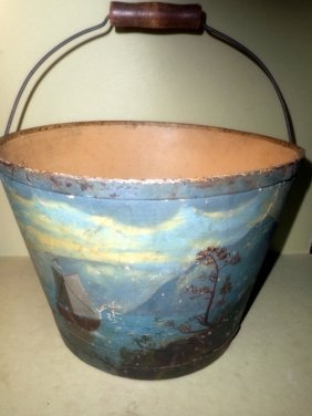 Primitive Painting On Antique Water Bucket