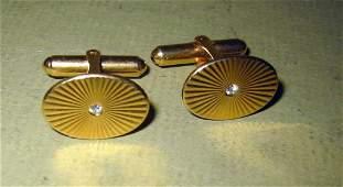 Pair of 14k Gold and Diamond Cufflinks