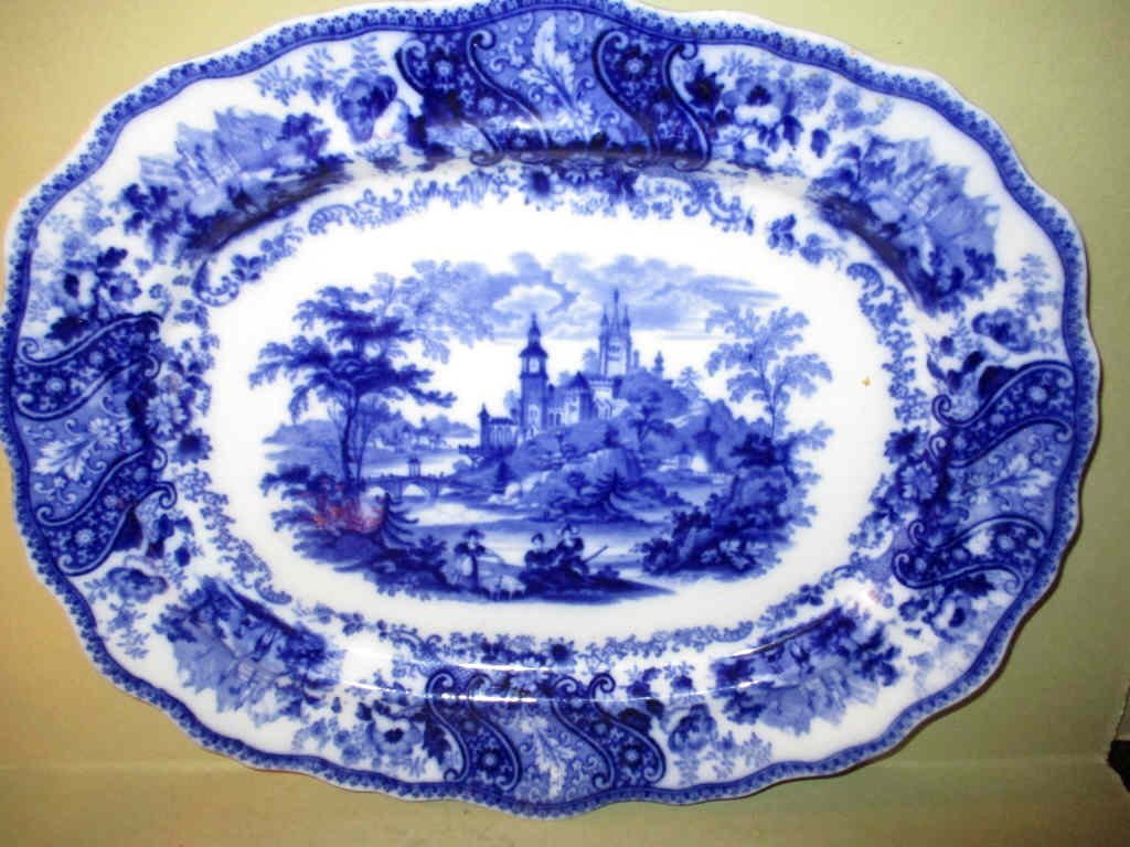 Flow Blue Transfer Ware Platter