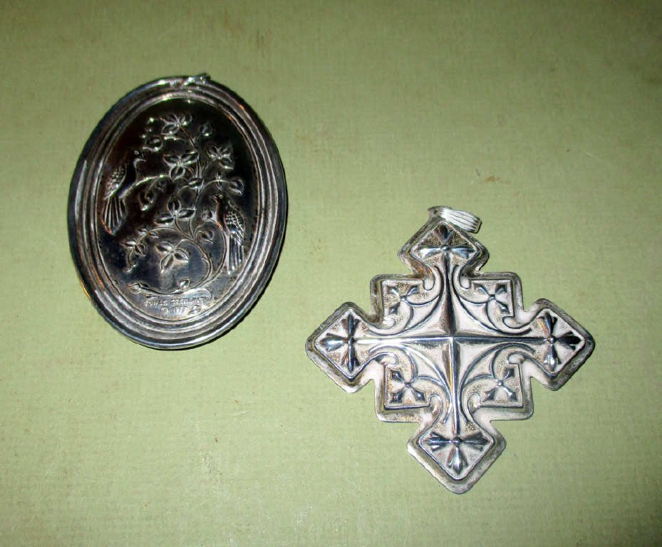 Two Sterling Silver Christmas Ornaments