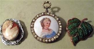 Three Vintage Costume Jewelry Brooches