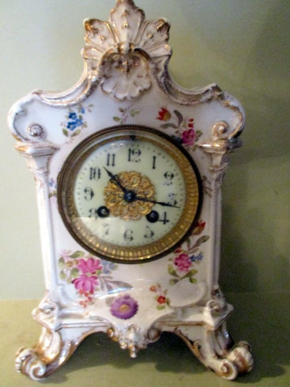 Hand Painted French Porcelain Clock