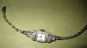 Ladys 14k Gold and Diamond Wrist Watch