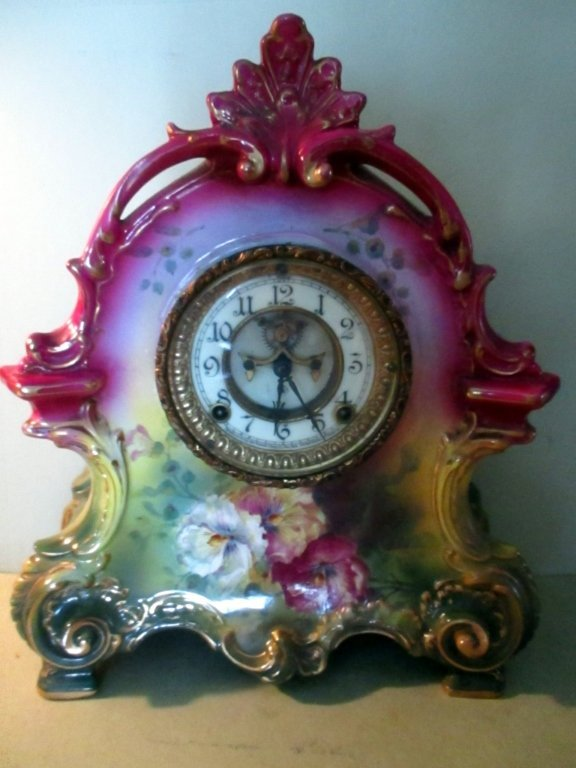 Ansonia Porcelain Mantle Clock