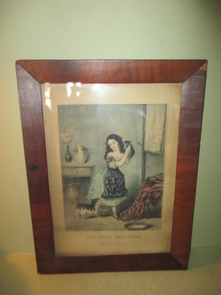 "N. Currier Print ""The Only Daughter"""