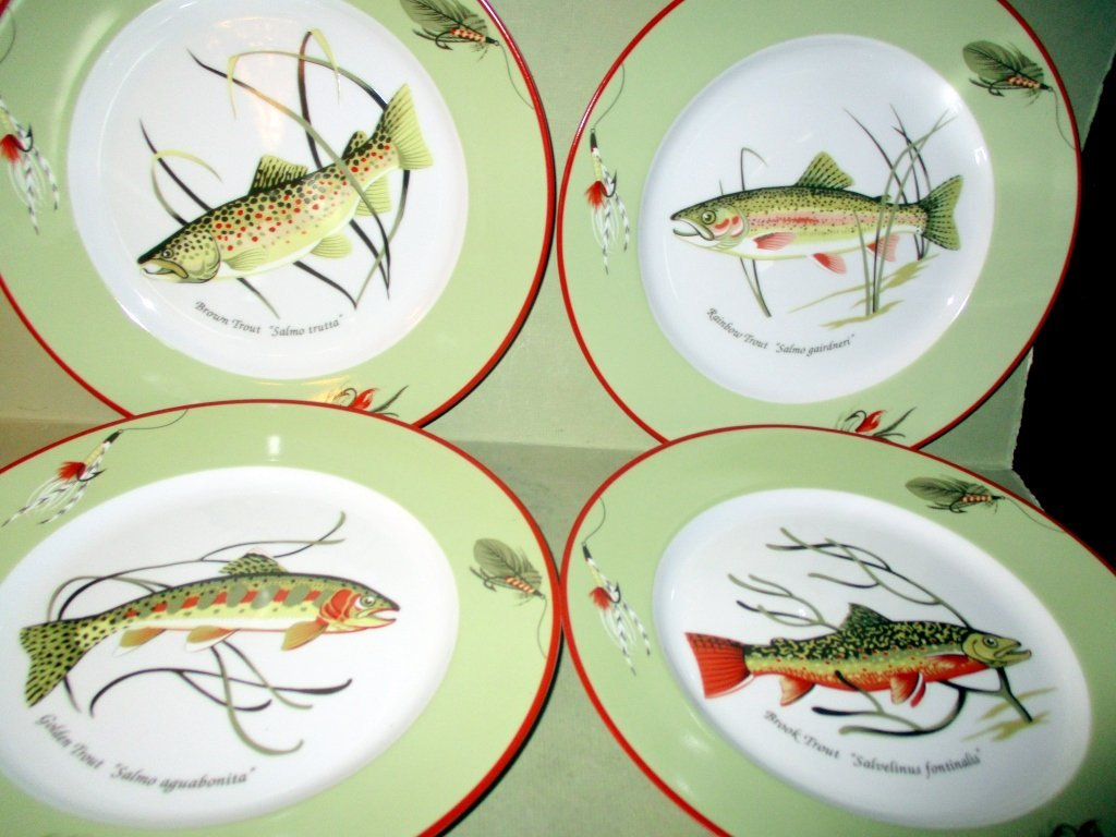 Four Tiffany & Co. Trout Plates