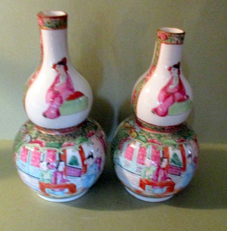 Pair of Rose Medallion Double Gourd Bottles