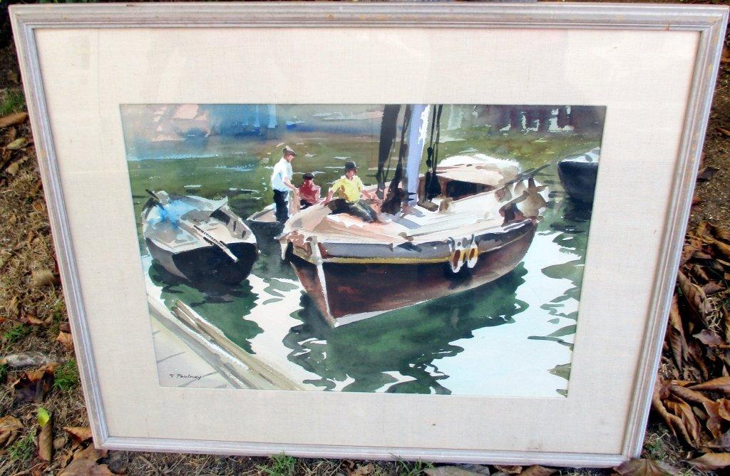 Watercolor of Boats by V. Pavlovsky