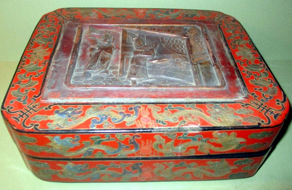 Chinese Red Lacquered Papier Mache Box