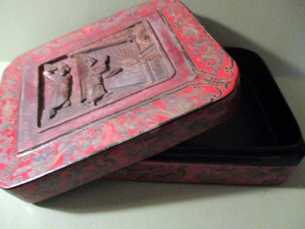 Chinese Red Lacquered Papier Mache Box - 3