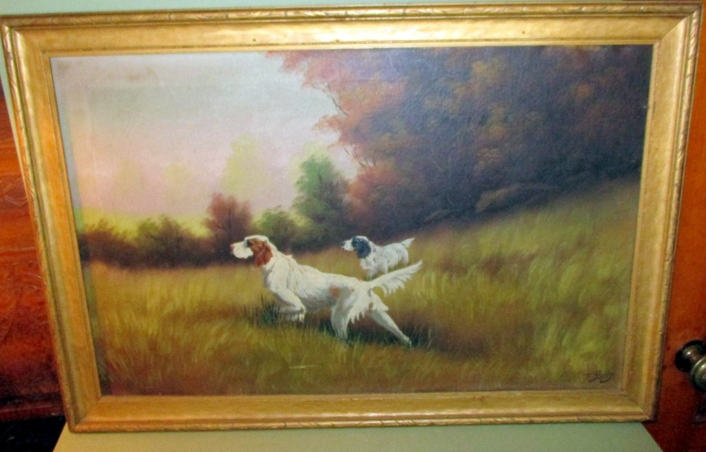 Oil on Canvas of English Setter Dogs