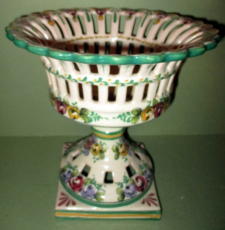 Faience Reticulated Compote