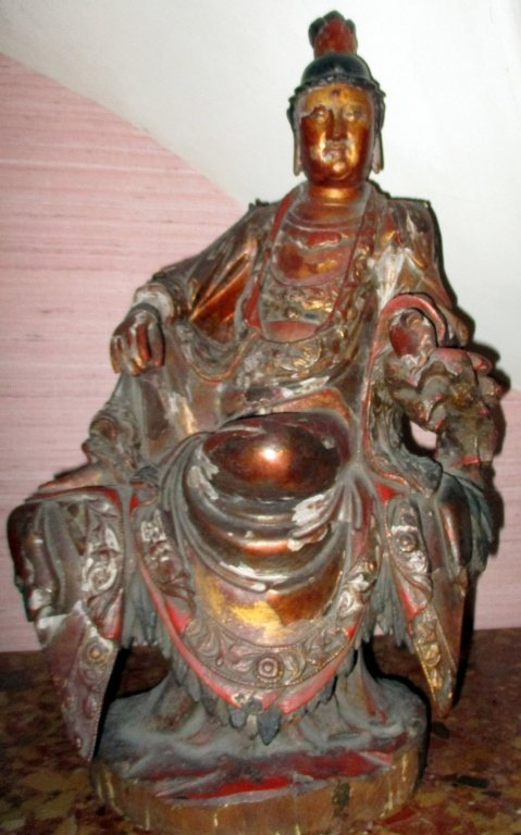 Fine Carved Wood Chinese Buddha