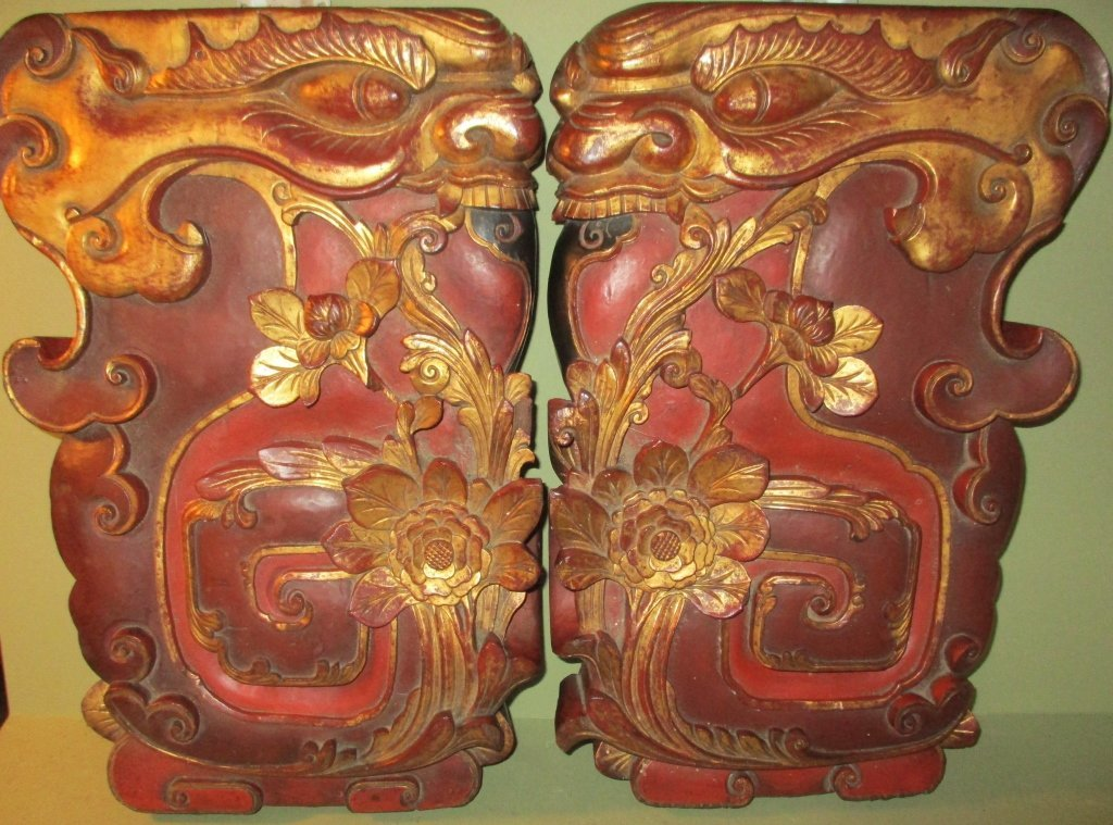 Two Large Carved Wood Wall Plaques