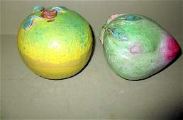 Two Pieces of Chinese Pottery Fruit
