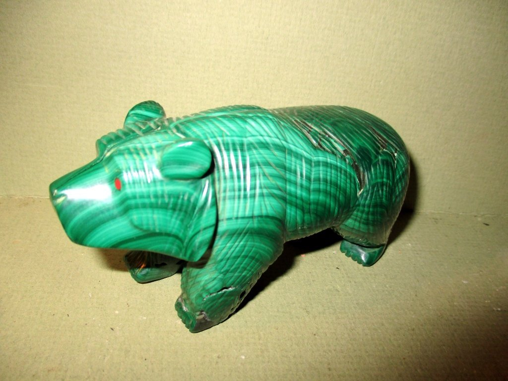 Carved Malachite Figure of Bear