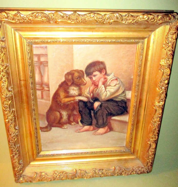 Victorian Framed Painting of Boy and Dog